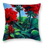 Red Geraniums Throw Pillow