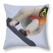Red Gerard Snowboarding Gold Throw Pillow