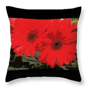 Red Gerberas Throw Pillow