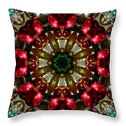 Red Gold Green Kaleidoscope 1 Throw Pillow