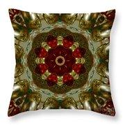 Red Gold Kaleidoscope 2 Throw Pillow