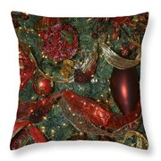Red Gold Tree No 3 Fashions For Evergreens Event Hotel Roanoke 2009 Throw Pillow