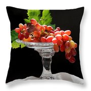 Red Grapes On Glass Dish Throw Pillow