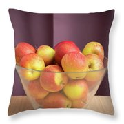 Red Green Apples In A Glass Bowl Throw Pillow