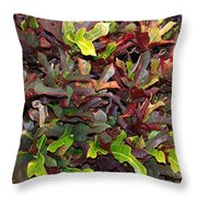 Red Green Leaves Throw Pillow