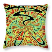 Red Green Yellow And Black Abstract Throw Pillow