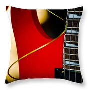 Red Guitar Throw Pillow by Hakon Soreide