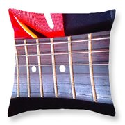 Red Guitar Neck Throw Pillow