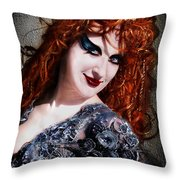 Red Hair, Gothic Mood. Model Sofia Metal Queen Throw Pillow