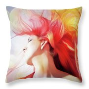 Red Hair With Bubbles Throw Pillow