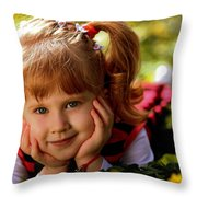 Red Haired Girl Throw Pillow