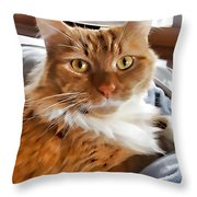 Red-haired Kitten Throw Pillow