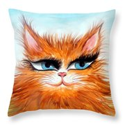 Red-haired Sofia The Cat Throw Pillow