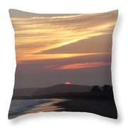 Red Half Dome Of Sun And Zig Zag Clouds And Surf Throw Pillow
