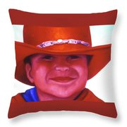 Red Hat Girl Throw Pillow