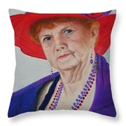 Red-hat Lady Throw Pillow