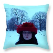 Red Hat On A Blue Day Throw Pillow
