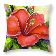 Red Hawaii Hibiscus Flower #301 Throw Pillow