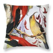 Red Hawaiian Honeycreeper Throw Pillow