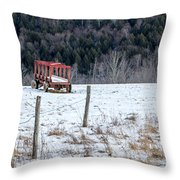 Red Hay Wagon Throw Pillow