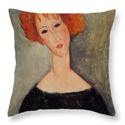 Red Head Throw Pillow by Amedeo Modigliani