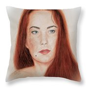 Red Headed Beauty Throw Pillow