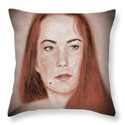 Red Headed Beauty Vdersion II Throw Pillow