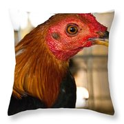 Red Headed Chicken Head Throw Pillow