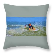 Red Headed Surfer Throw Pillow
