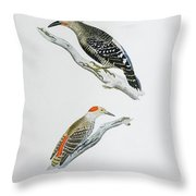 Red Headed Woodpeckers 3 Throw Pillow