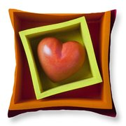 Red Heart In Box Throw Pillow