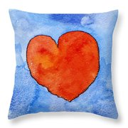 Red Heart On Blue Throw Pillow