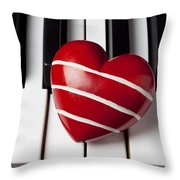 Red Heart With Stripes Throw Pillow