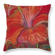 Red Hibiscus #1 Throw Pillow