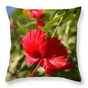 Red Hibiscus Throw Pillow