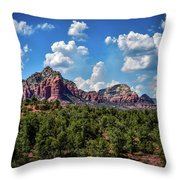 Red Hills And Green Tress Throw Pillow