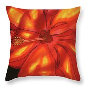 Red Hibiscus 1 Throw Pillow