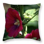 Red Hollyhock 1360 H_2 Throw Pillow