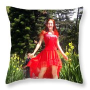 Red Hot - Ameynra Fashion By Sofia Metal Queen. Throw Pillow