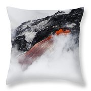 Red Hot Lava And Steam Throw Pillow
