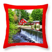 Red House By The Falls Throw Pillow