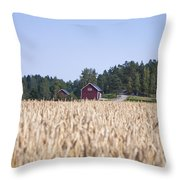 Red House Wheat Field Throw Pillow
