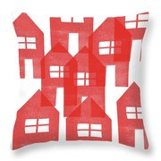 Red Houses- Art By Linda Woods Throw Pillow