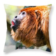 Red Howler Monkey Alpha Male Throw Pillow