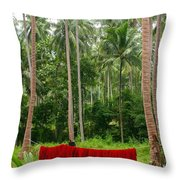 Red In The Jungle Throw Pillow
