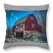 Red Indiana Barn Throw Pillow