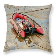 Red Inflatable Boat With Motor In Musselburgh Haven. Throw Pillow