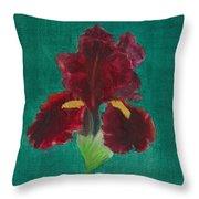 Red Iris Throw Pillow