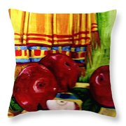 Red Juicy Apples Throw Pillow
