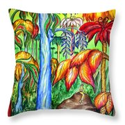 Red Jungle. Alien Planet Throw Pillow